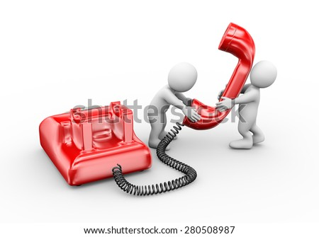 3d illustration of man talking on phone.  3d rendering of human people character - stock photo