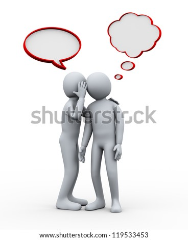 3d illustration of man telling secret to another person. 3d rendering of human character. - stock photo