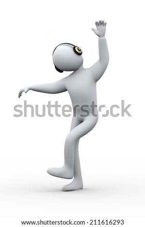 3d illustration of man with headphone enjoying music and dancing. 3d rendering of human people character. - stock photo