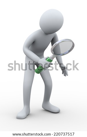 3d illustration of man with magnifying glass. 3d rendering of human people people character. - stock photo