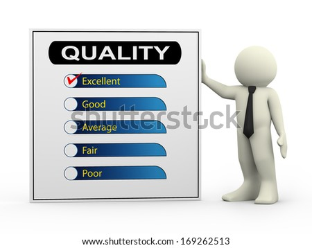 3d illustration of man with quality survey form check list with tick mark on excellent. - stock photo
