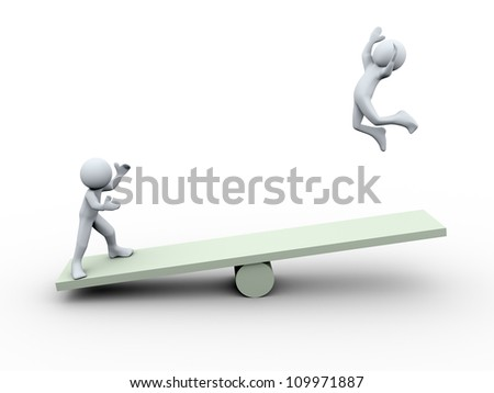 3d Illustration of man with seesaw. 3d rendering of human character - stock photo