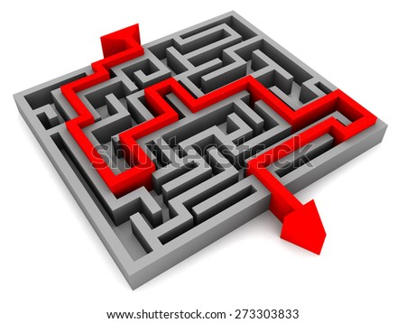 3d illustration of maze and arrow passing it - stock photo