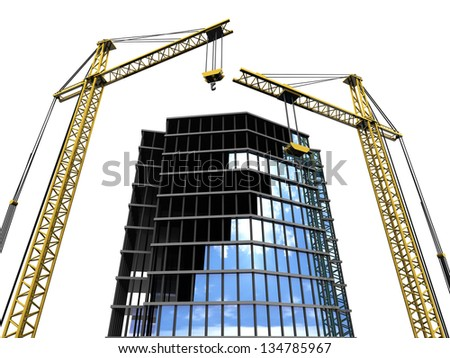 3d illustration of modern building construction, isolated over white - stock photo