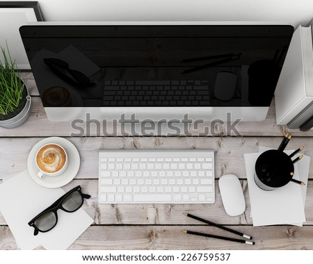 3D illustration of modern computer template, workspace mock up, background - stock photo