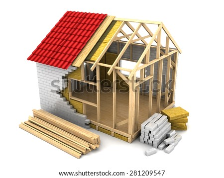 3d illustration of modern frame house construction - stock photo