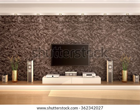 3d illustration of modern home theater in a cozy interior - stock photo
