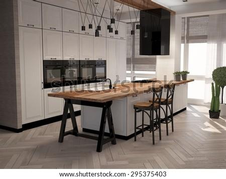 3D illustration of modern kitchen in interior - stock photo
