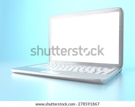 3D illustration of modern laptop PC on blue reflective background - stock photo