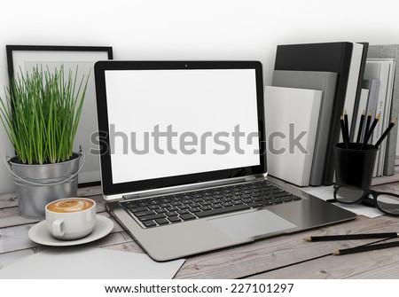 3D illustration of modern laptop template, workspace mock up, background - stock photo
