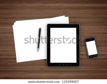 3d illustration of modern mobile devices, sheet of paper and pen on wooden table - stock photo