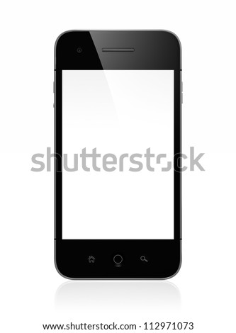 3D illustration of modern mobile phone with white blank screen isolated on white background - stock photo