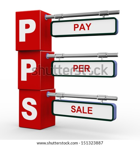 3d illustration of modern roadsign cubes signpost of pps pay per sale - stock photo