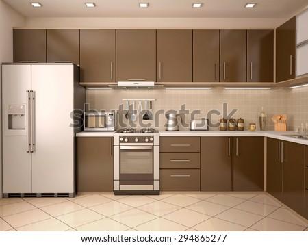 3D illustration of modern style kitchen interior - stock photo