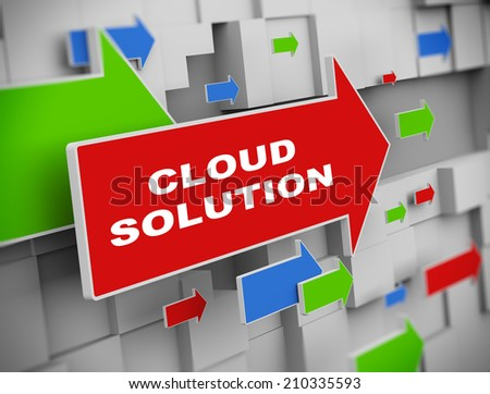 3d illustration of moving arrow of cloud solution on abstract wall background - stock photo