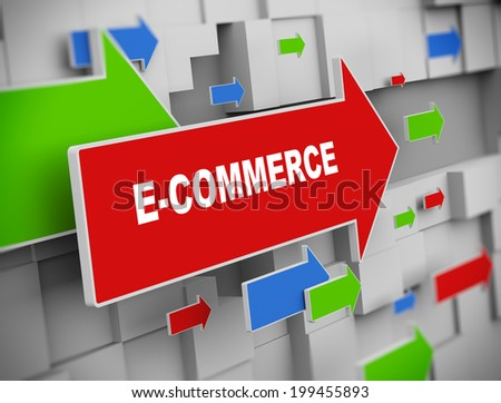 3d illustration of moving arrow of e-commerce on abstract wall background. - stock photo