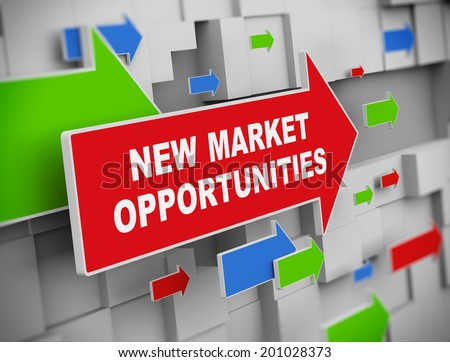3d illustration of moving arrow of market opportunities on abstract wall background. - stock photo