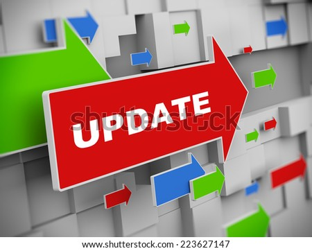 3d illustration of moving arrow of update on abstract wall background - stock photo