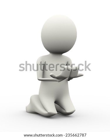 3d illustration of muslim man with raising hands making dua in islamic way. 3d human person character and white people - stock photo