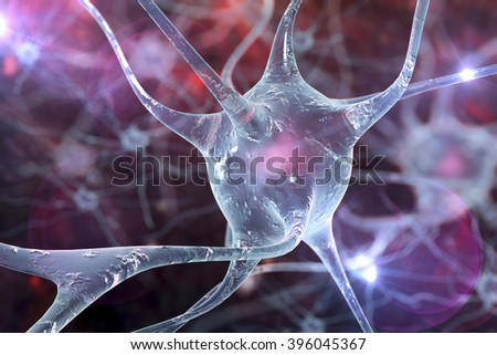 3D Illustration of neurons on colorful background, model of nervous cells, brain cells, background with neuron, nerve cell, brain cell, scientific background, medical background, healthcare background - stock photo