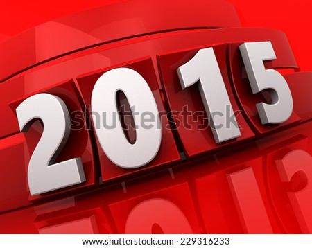 3d illustration of 2015 new year sign over red background - stock photo