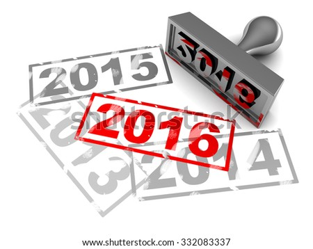 3d illustration of new year 2016 stamp, over white background - stock photo