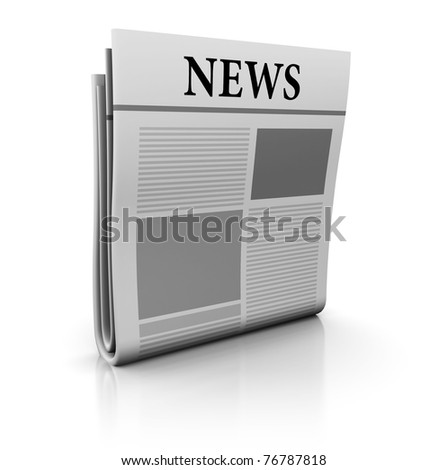 3d illustration of newspaper icon or symbol - stock photo