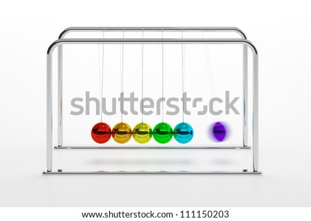 3D illustration of Newton's cradle with colored balls isolated on white - stock photo