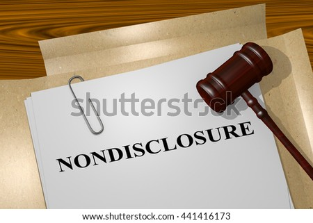 "3D illustration of ""NONDISCLOSURE"" title on Legal Documents. Legal concept. - stock photo"