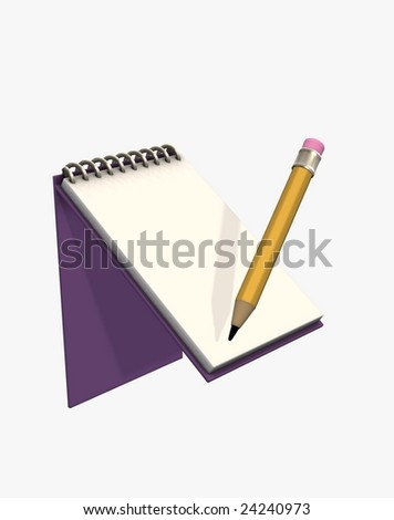 3d illustration of notepad with pencil - stock photo