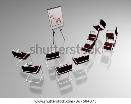 3D illustration of numerous office chairs around a flipchart showing a decreasing curve, refering to a presentation in a business or managerial work environment - stock photo