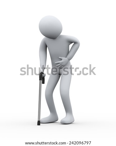 3d illustration of old person having stomach pain walking with the help of stick. 3d rendering of people - human character - stock photo