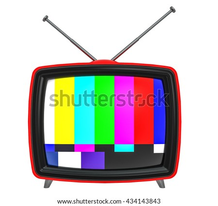 3D Illustration of old style red TV isolated on white - stock photo