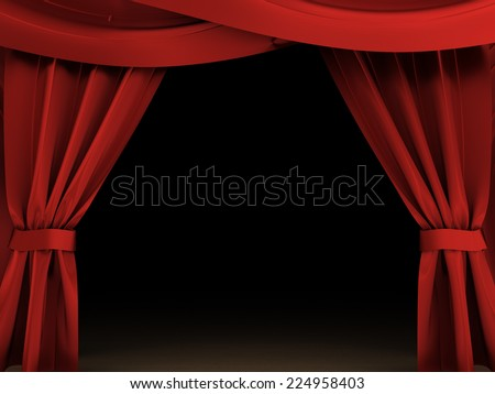 3d illustration of opened red curtains and dark scene - stock photo