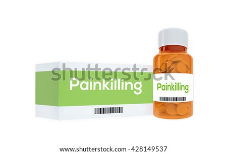 """3D illustration of """"Painkilling"""" title on pill bottle, isolated on white. Medication concept. - stock photo"""