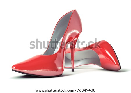 3D illustration of pair strict red classical female evening shoes - stock photo