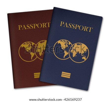 3D illustration of Passports isolated on white background - stock photo