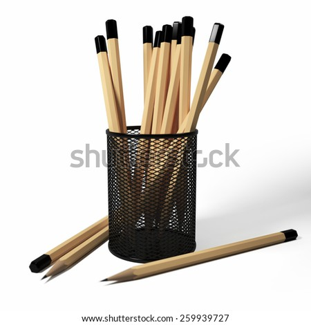 3D illustration of pencils in the stand on a white background - stock photo