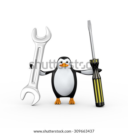 3d illustration of penguin wearing hardhat holding screwdriver and wrench - stock photo