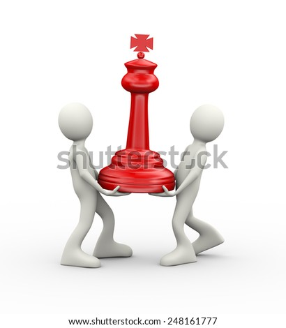3d illustration of people carrying red big chess piece. 3d human person character and white people - stock photo