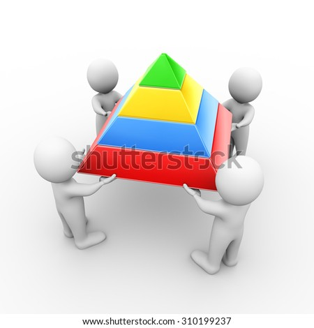 3d illustration of people holding layer pyramid. 3d rendering of human people character - stock photo