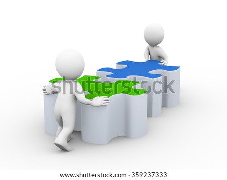 3d illustration of people pushing lard puzzle pieces. Concept of team work and rendering of human people man character - stock photo