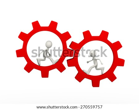 3d illustration of people running inside rotating red big chrome metallic gear cogwheel. 3d human person character and white people - stock photo