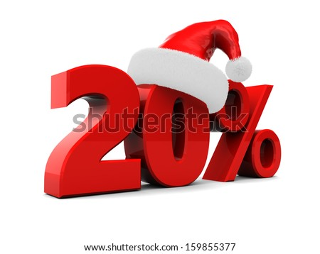 3d illustration of 20 percent christmas discount, over white background - stock photo