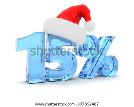 3d illustration of 15 percent discount and christmas hat - stock photo