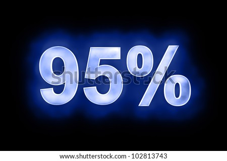 3d illustration of 95 percent in glowing mottled white numerals on a blue background with a black surround - stock photo