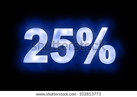 3d illustration of 25 percent in glowing mottled white numerals on a blue background with a black surround - stock photo