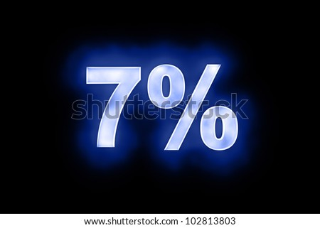 3d illustration of 7 percent in glowing mottled white numerals on a blue background with a black surround - stock photo