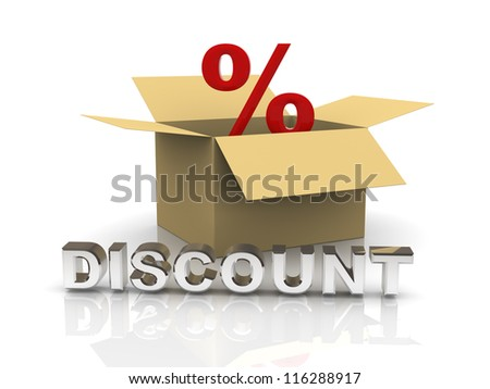 3d illustration of percentage sign in a box and reflective word discount - stock photo