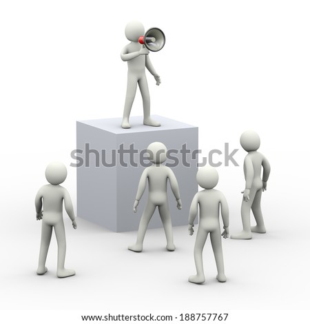 3d illustration of person announcing through megaphone. 3d rendering of human people character - stock photo